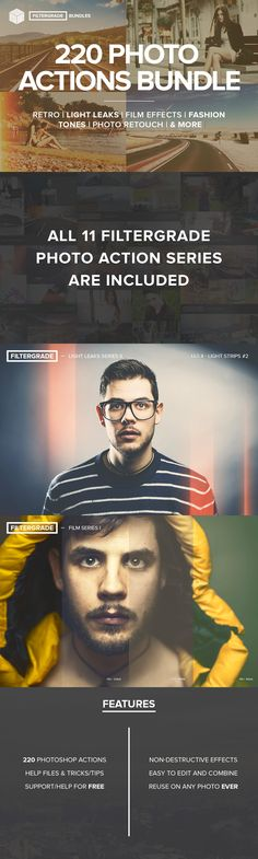 The FilterGrade Photoshop Actions Bundle includes all 220 FilterGrade Photoshop actions for you to use on your photos. From vintage to… Effects Photoshop, Photoshop Elements, Photoshop Tutorial, Photoshop Actions, Adobe Photoshop, Photoshop Photography, Photography Tutorials, Digital Photography, Photography Tips