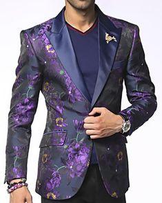 SKU Angelino Brand Mens Single Breasted Peak Lapel Austin Purple Fashion Blazer and Sport Coat Blazer Outfits Men, Mens Fashion Blazer, Suit Fashion, Male Prom Outfits, Men's Outfits, Purple Prom Suit, Purple Suits, Prom Suits For Men, Mens Suits