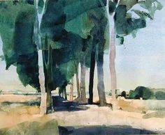 The Watercolour Log: Landscape Paintings I LIke. Sounds like quite a day of traveling. Watercolor Trees, Watercolor Landscape, Abstract Watercolor, Watercolor And Ink, Abstract Landscape, Watercolour Painting, Painting & Drawing, Landscape Paintings, Watercolours