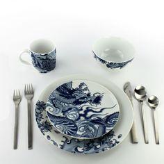 Irezumi Ink Dish Tattoo Design 4 Piece Place Setting Dinnerware by Paul Timman