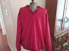 Men's Izod V-Neck Jacket Golf Pullover Windbreaker 2 Zippered Pockets Size L #IZOD #Windbreaker