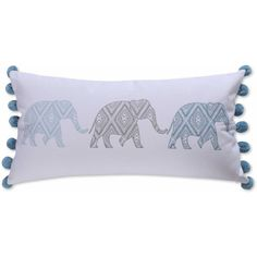 Levtex Home Fabi Elephant Pom Pom Throw Pillow in Grey/Blue ❤ liked on Polyvore featuring home, home decor, throw pillows, blue toss pillows, blue home decor, gray accent pillows, gray throw pillows and grey accent pillows