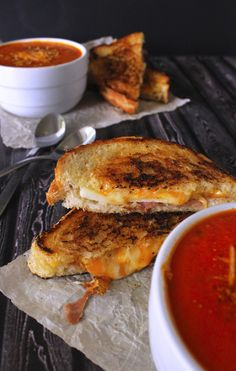 Tomato Basil Soup with Prosciutto, Apple & Gruyere Grilled Cheese