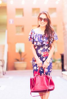 cute & little blog   petite fashion   navy floral off-shoulder midi dress, aerosoles exit lane   date night outfit