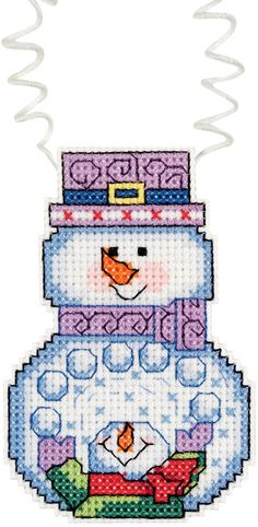 "Holiday Wizzers Snowman With Snowballs Counted Cross Stitch -3""""X2.25"""" 14 Count"