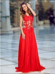 A-Line/Princess Sleeveless Chiffon Applique Sweep/Brush Train Dresses