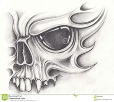 Skull Tattoo Design, Tattoo Design Drawings, Tattoo Sketches, Art Sketches, Tattoo Designs, Evil Skull Tattoo, Skull Tattoos, Skull Stencil, Tattoo Stencils