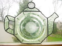For Mom-Suncatcher stained glass teapot-Made from old depression glass plate and new glass the same color