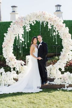 romantic pink and white flower circular wedding arch ideas