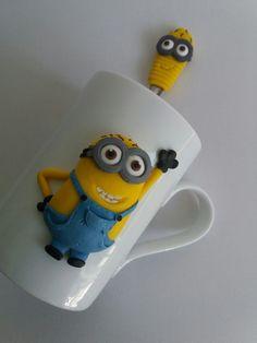 Kevin Minion polymer clay mug