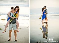 Beach - Engagement photo shoot of Mission Beach couple relaxing on the sand
