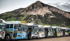 The fleet. #MountainExpress #citybus #freebus #skitown #publictransit #CrestedButte #WestElkProject