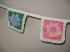 close up of my crocheted bunting