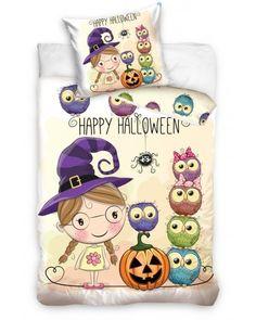 Bielo kremove detske postelne obliecky s napisom Happy Halloween Beige, Happy Halloween, Spiderman, Snoopy, Teddy Bear, Ebay, Toys, Animals, Linens