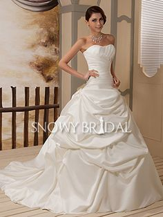 Formal Ball Gown Long Satin Sweetheart Corset Dropped Wedding Dress - US$ 184.49 - Style W0788 - Snowy Bridal
