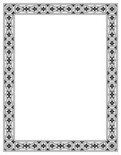 Slobodna islamska kaligrafija | Ornamentirani pravokutnik Frame Border Design, Page Borders Design, Photo Frame Design, Borders For Paper, Borders And Frames, Certificate Design Template, Certificate Border, Molduras Vintage, Scrapbook Frames