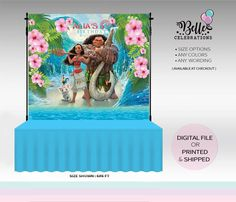"""Moana Themed 1/"""" Wide Repeat Ribbon Sold in Yard Lots"""
