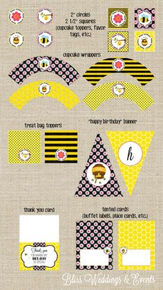 SALE! INSTANT DOWNLOAD printable bumble bee birthday party decor collection, banner, thank you, cupcake topper and wrappers, favor tags