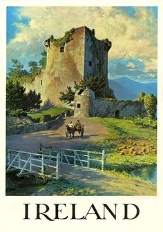 Vintage travel poster of an old castle in Ireland.  I am not entirely sure where the castle in this poster is located in Ireland. It is most likely Blarney Castle but it also resembles Castle Ross, Killarney Park or Kilcash Castle. As with many of these posters the arist used artistic licence so their paintings were not always exactly correct even though in their eyes they were perfectly correct.I am not sure what castle this is and im hoping someone might email me to let me know.