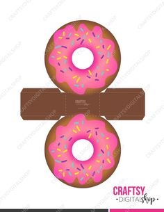 Pink donut box template with colorful sparks, perfect for birthday parties or very original details Diy Gift Box, Diy Box, Diy Gifts, Gift Boxes, Donut Birthday Parties, Donut Party, Foam Crafts, Paper Crafts, Paper Art