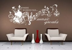 Wall Decal Music Speaks Vinyl Wall Quote Sticker Art | eBay