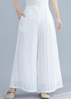 Summer new cotton and linen white wide leg pants loose yoga Chinese tr – SooLinen Kurta Designs Women, Blouse Designs, Nude Trousers, Cuffed Pants, Trousers Women, Fashion Pants, Fashion Dresses, White Wide Leg Pants, Estilo Hippie