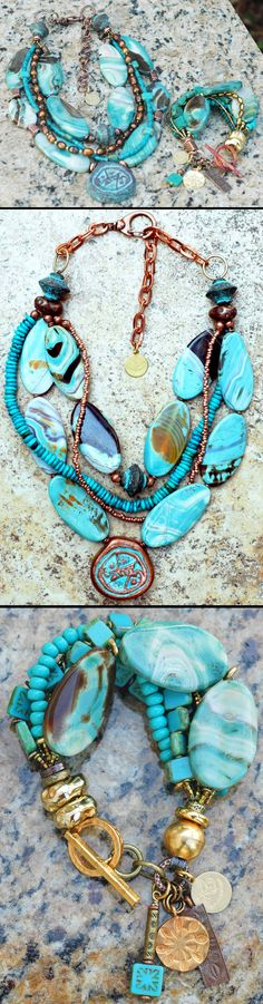 Blue Agate, Turquoise, Copper and Gold Pendant Necklace and Charm Bracelet