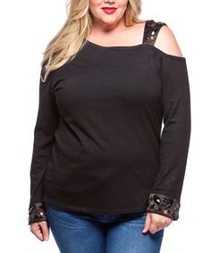 Look at this #zulilyfind! Black Embellished Off-Shoulder Top - Plus #zulilyfinds