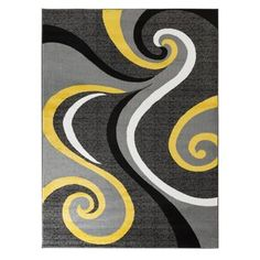 Well Woven Rosa Gold/Gray Rug   Wayfair Grey And Yellow Living Room, Black And Grey Rugs, Teal Area Rug, Beige Area Rugs, Yellow Rug, Gray Yellow, Blue, Geometric Box, Fluffy Rug