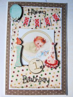 Happy 1st Birthday Card Birthday Wishes Babies by littledebskis