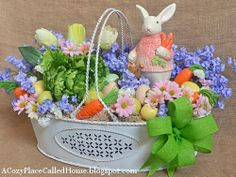 DIY: Easter Veggie Garden Basket Arrangement...she gives a tutorial on how she made this. This would be so cute on my porch table!