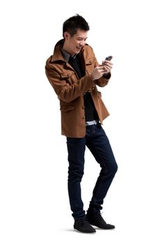 Imagen libre de derechos: Stylish young man with moblie phone People Cutout, Cell Phone Service, Human Poses, Beijing China, New Phones, Young Man, Movies To Watch, Going Out, Photoshop