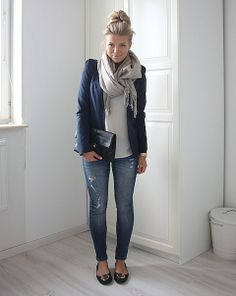 I like everything about this the navy blazer, jeans, flats, scarf & purse soo stylish and comfy. Something I'd wear for work
