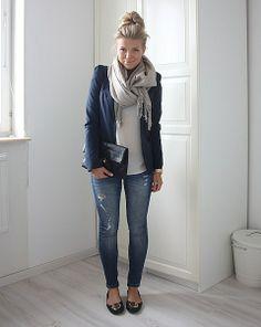 skinnies + flats + blazer + tee + scarf + tossed up bun = ready to go!