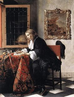 Gabriel Metsu - Man Writing a Letter, 1665 at National Gallery of Ireland - Dublin Ireland Also viewed at 2017 Vermeer and the Masters Exhibit at National Gallery of Art - Washington DC Johannes Vermeer, Anthony Van Dyck, Art Gallery, National Gallery Of Art, National Art, Caravaggio, Gabriel Metsu, Vermeer Paintings, Dutch Golden Age