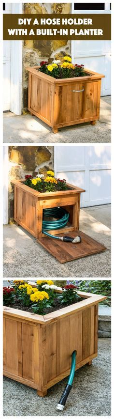 Build a unique hose holder using recycled pallet wood! This holder has a special feature; you can plant your favorite flowers on top. I love it!