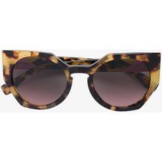 Fendi Eyewear  geometric Havana sunglasses (£220) ❤ liked on Polyvore featuring accessories, eyewear, sunglasses, retro glasses, geometric glasses, tortoise shell glasses, tortoise glasses and tortoiseshell sunglasses