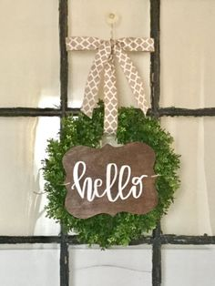 Handlettered Hello Wreath