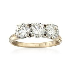 C. 1970 Vintage 1.75 ct. t.w. 3-Stone Diamond Ring in 14kt Yellow Gold. Size 5