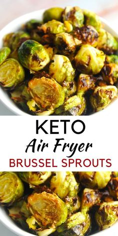 Air Fryer Brussel Sprouts {Easy Keto Recipe} - Momma Fit Lyndsey - - Air fryer brussel sprouts are an easy healthy weeknight recipe that will be a family favorite! This recipe is an easy keto recipe for your entire family! Air Frier Recipes, Air Fryer Oven Recipes, Air Fryer Dinner Recipes, Keto Recipes, Cooking Recipes, Healthy Recipes, Snacks Recipes, Vegetarian Recipes, Cooking Time