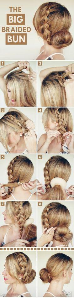 "Braided Bun hair tutorial on Latest Hairstyles big-braided-bun"" data-componentType=""MODAL_PINbig-braided-bun"" data-componentType=""MODAL_PIN Braided Hairstyles Tutorials, Pretty Hairstyles, Braid Tutorials, Braid Hairstyles, Latest Hairstyles, Hairstyle Ideas, Beauty Tutorials, Wedding Hairstyles, Summer Hairstyles"