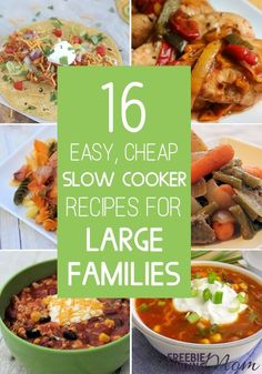 Do you need to feed a big family on a small budget? No problem! Whether you are feeding 2 or 10, these 16 Easy, Cheap Slow Cooker Recipes for Large Families will inspire you. You'll find healthy, delicious and inexpensive recipes like crockpot turkey chili, chicken cacciatore, beef stroganoff, ham and potato soup and more. So, what are you waiting for? Save money and time by cranking up your slow cooker and making these cheap meals for large families today!