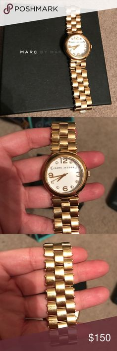 Marc Jacobs Watch Authentic Marc by Marc Jacobs Gold Tone Steel and Crystal watch. MBM3027. Extra link and box included. Needs new battery. No trades. Marc by Marc Jacobs Accessories Watches