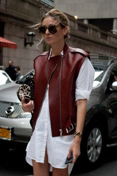 Reinventing the wheel…a shirtdress with an edgy leather jacket New York Streetstyle  Photo by Lordale Benosa