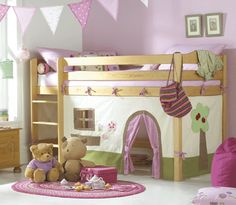 Child's Loft Bed with Tent Play Area...Different color and material for a boy's room