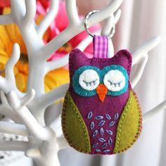 Hand embroidered sleepy owl felt keyring - purple and green £6.95