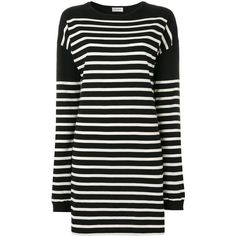 Saint Laurent mariniere striped sweatshirt dress ($840) ❤ liked on Polyvore featuring dresses, black, long sleeve cotton dress, longsleeve dress, ribbed dress, striped dresses and round neck dress