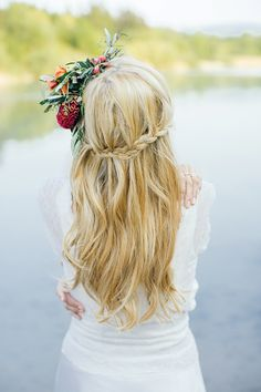 wedding hair bride bridal braid flowers long half down half up Bohemian Beauty by Die Hochzeitsfotografen