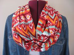 Tribal Ikat Infinity Scarf,Vintage Fabric Extra Long