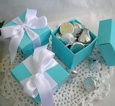 Tiffany & Co Inspired Blue Favor Boxes 10 by AllThingsAngelas, $14.99 #Wedding #Party #Tiffany Blue